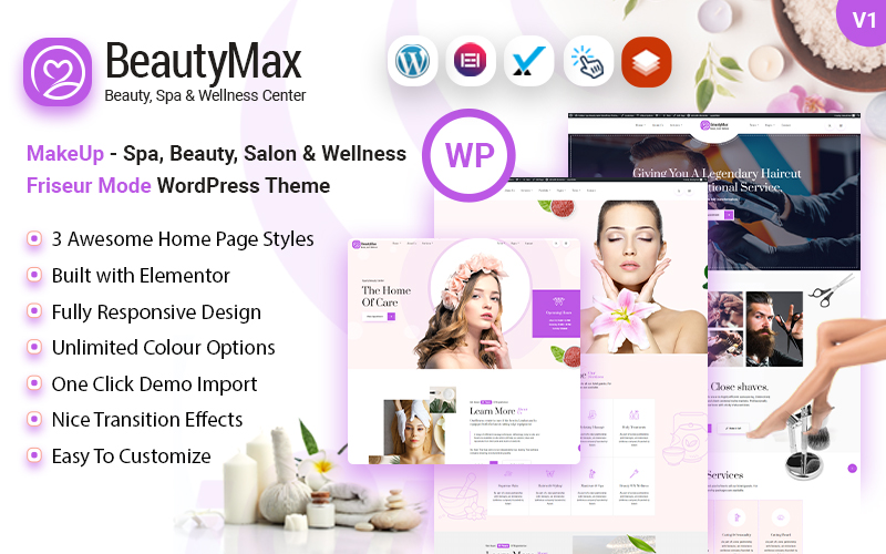Spa Beauty Wellness Center and Barber Salon WordPress Theme