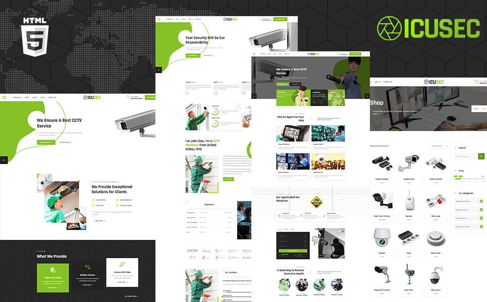 Icusec Camera Accessories Shop and Security Services Website Template