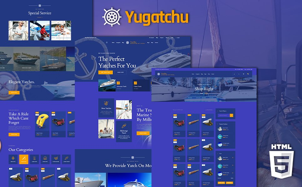 Yugatchu Luxury Yacht Club Service and Marine shop Website Template