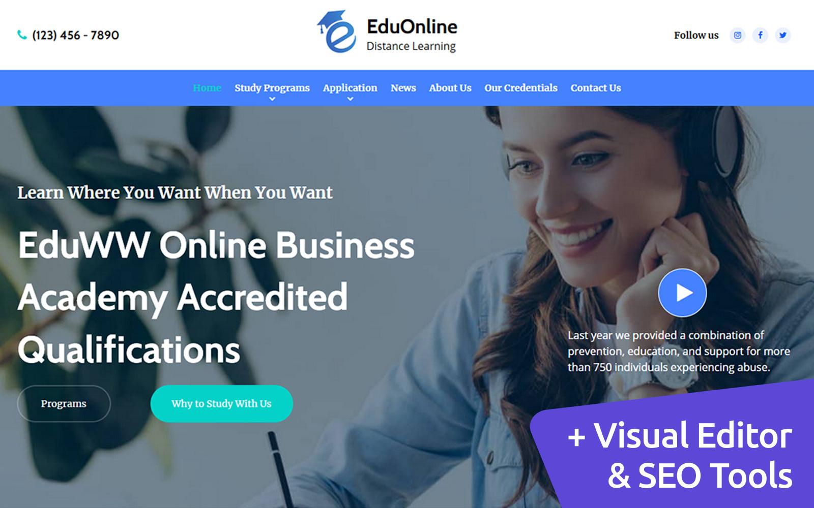 EduOnline - Distance Learning Moto CMS 3 Template