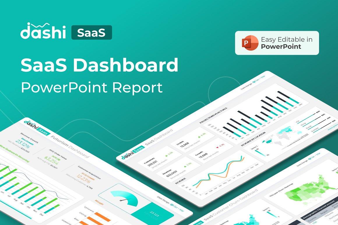 Dashi SaaS | SaaS Dashboard Report Presentation PPT PowerPoint Template