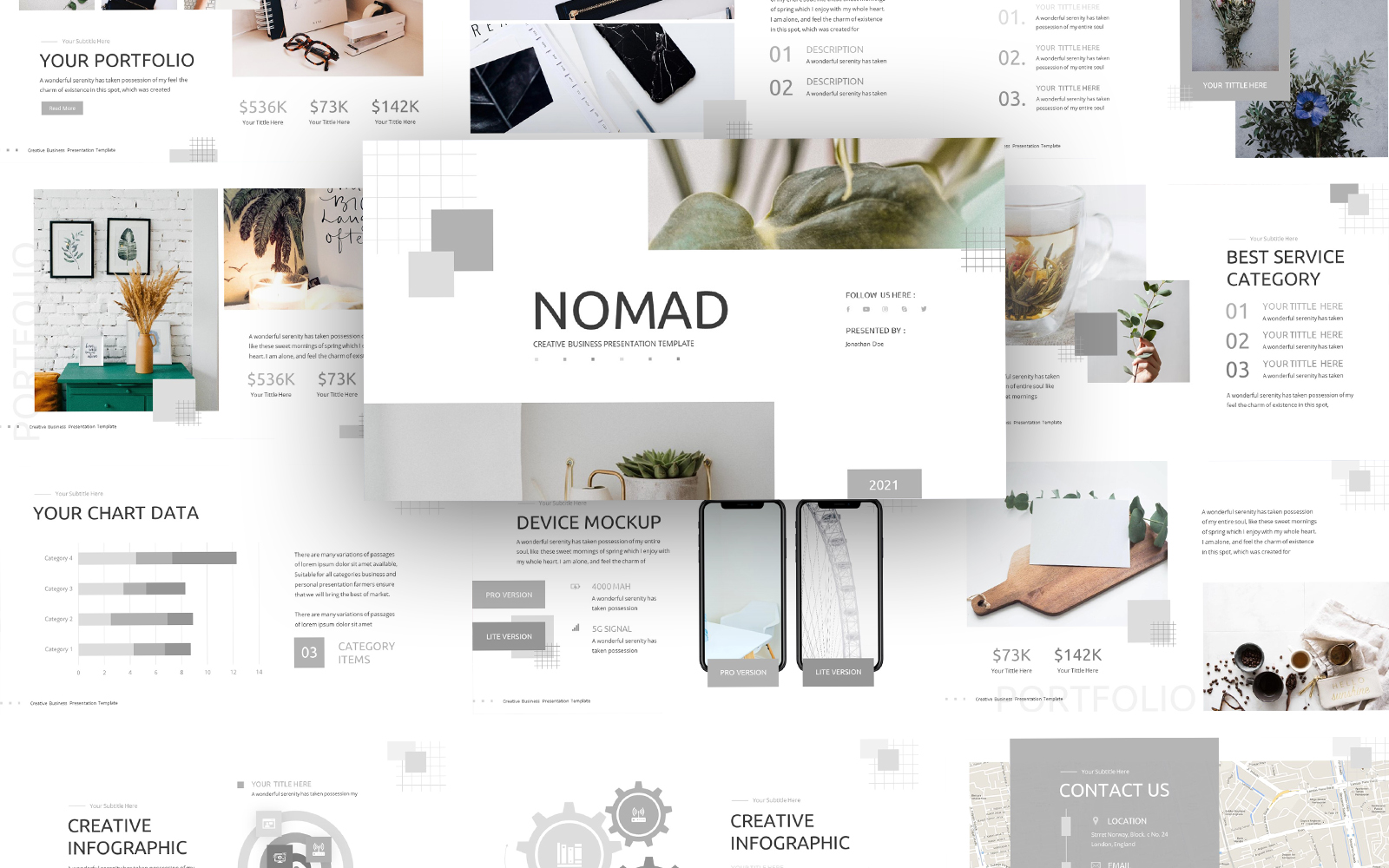 Nomad Creative Business Presentation PowerPoint Template