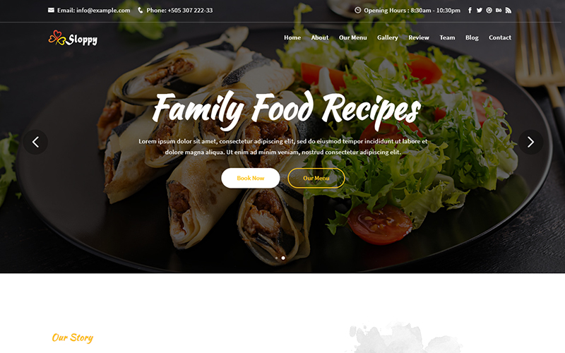 Sloppy - Food & Resturant Responsive Landing Page Template