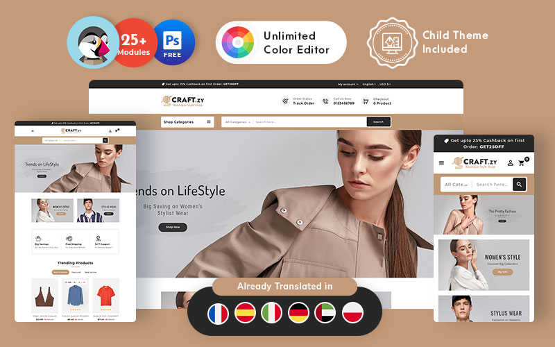 Craftzy Boutique Store - Multipurpose Responsive PrestaShop Theme