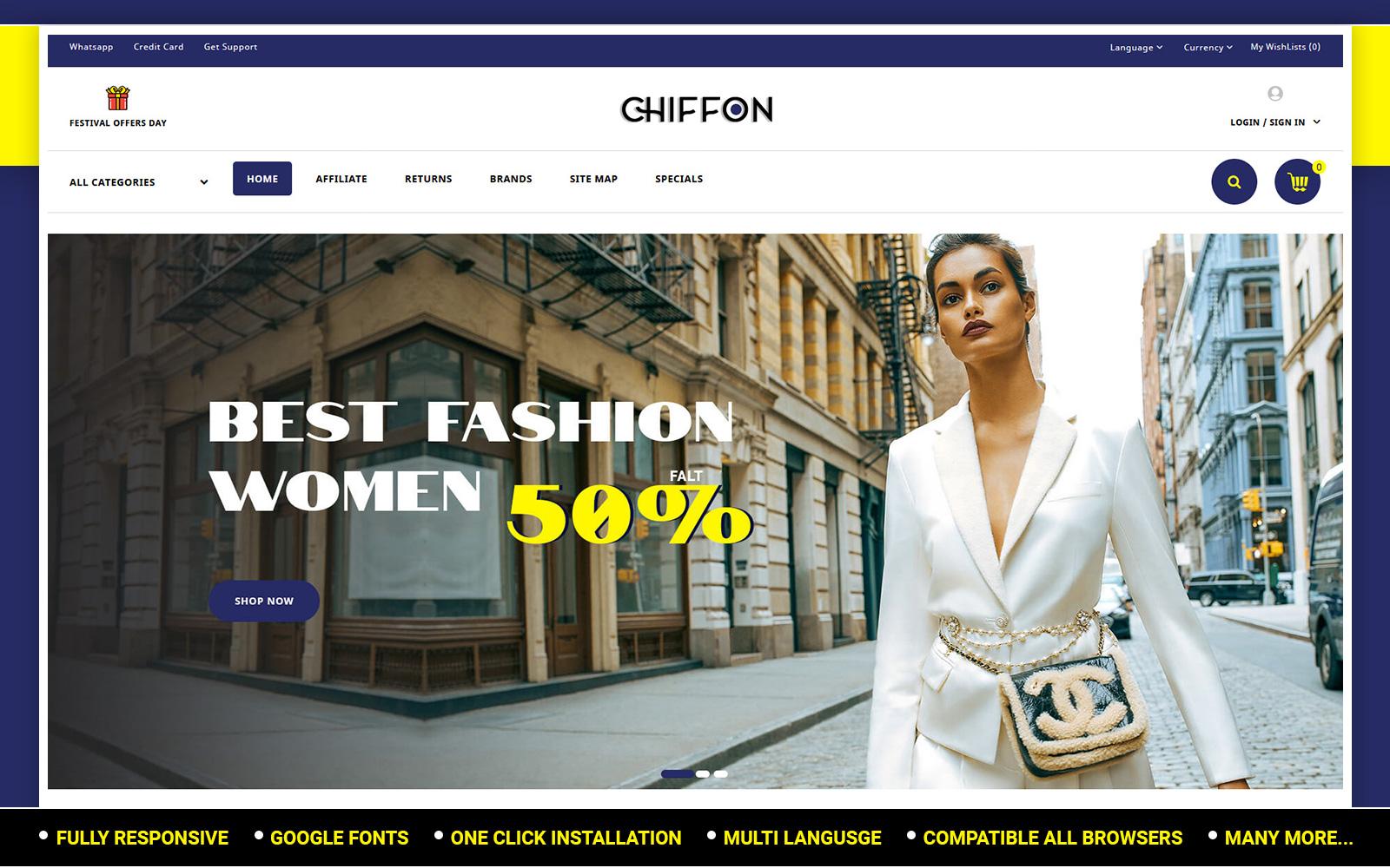 Chiffon - Fashion Store OpenCart Template