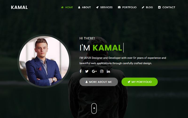 Kamal - Personal Portfolio Landing Page Template