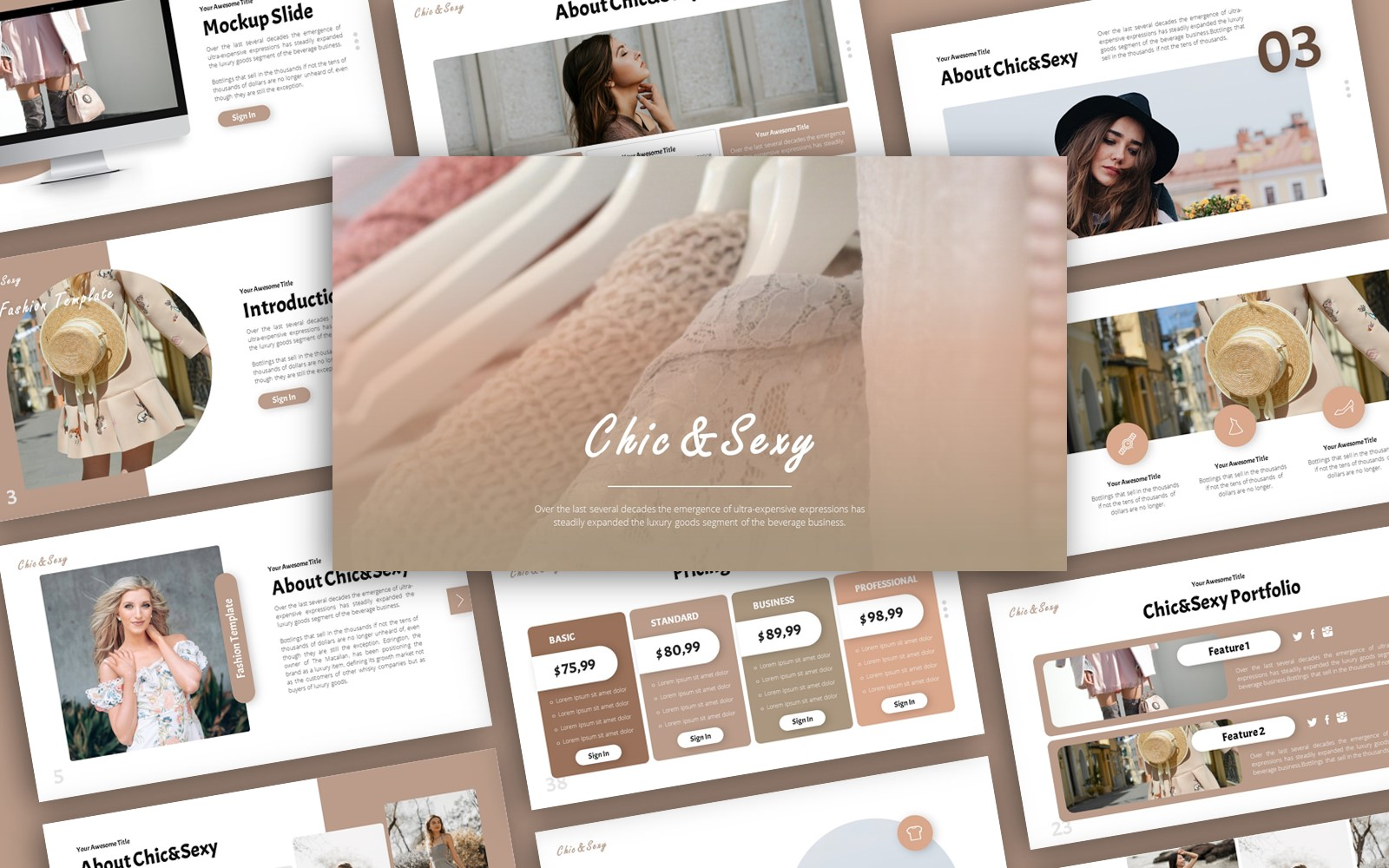 Chic&Sexy Fashion Presentation PowerPoint Template