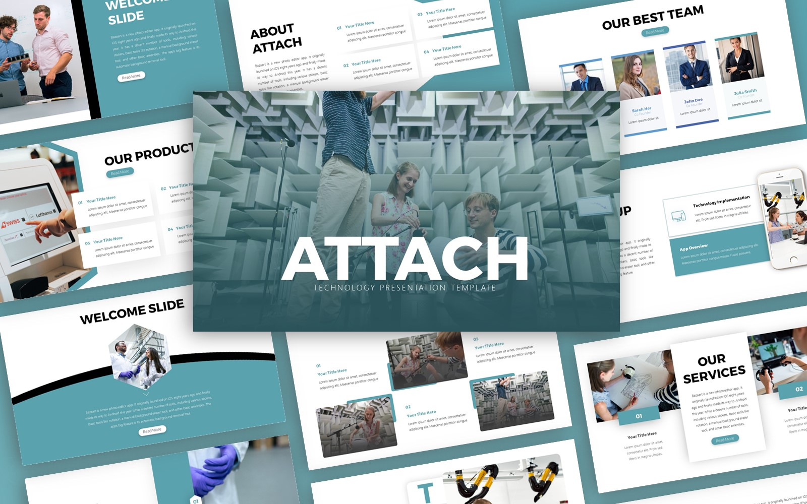 Attach Technology Presentation PowerPoint Template