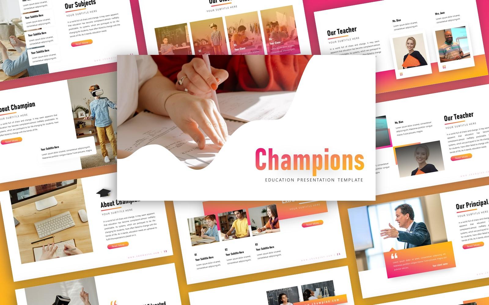 Champion Education Presentation PowerPoint Template