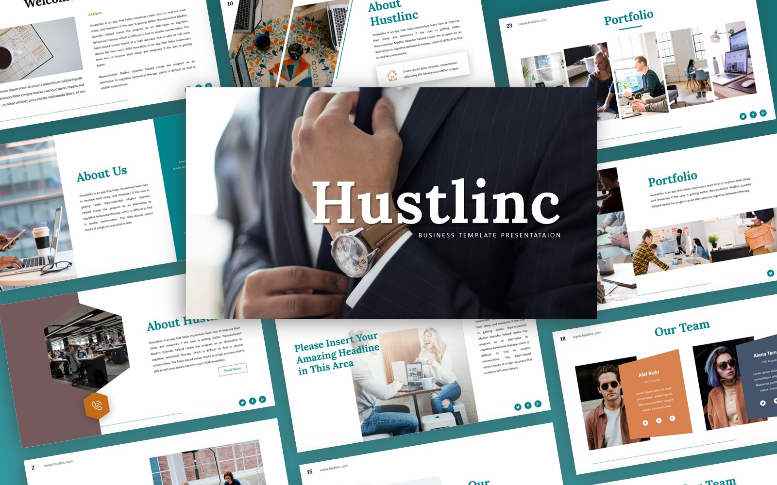Hustlinc Business Presentation PowerPoint Template