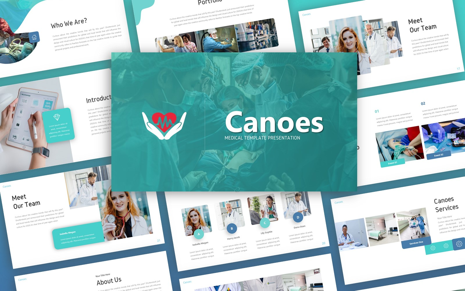 Canoes Medical Presentation PowerPoint Template