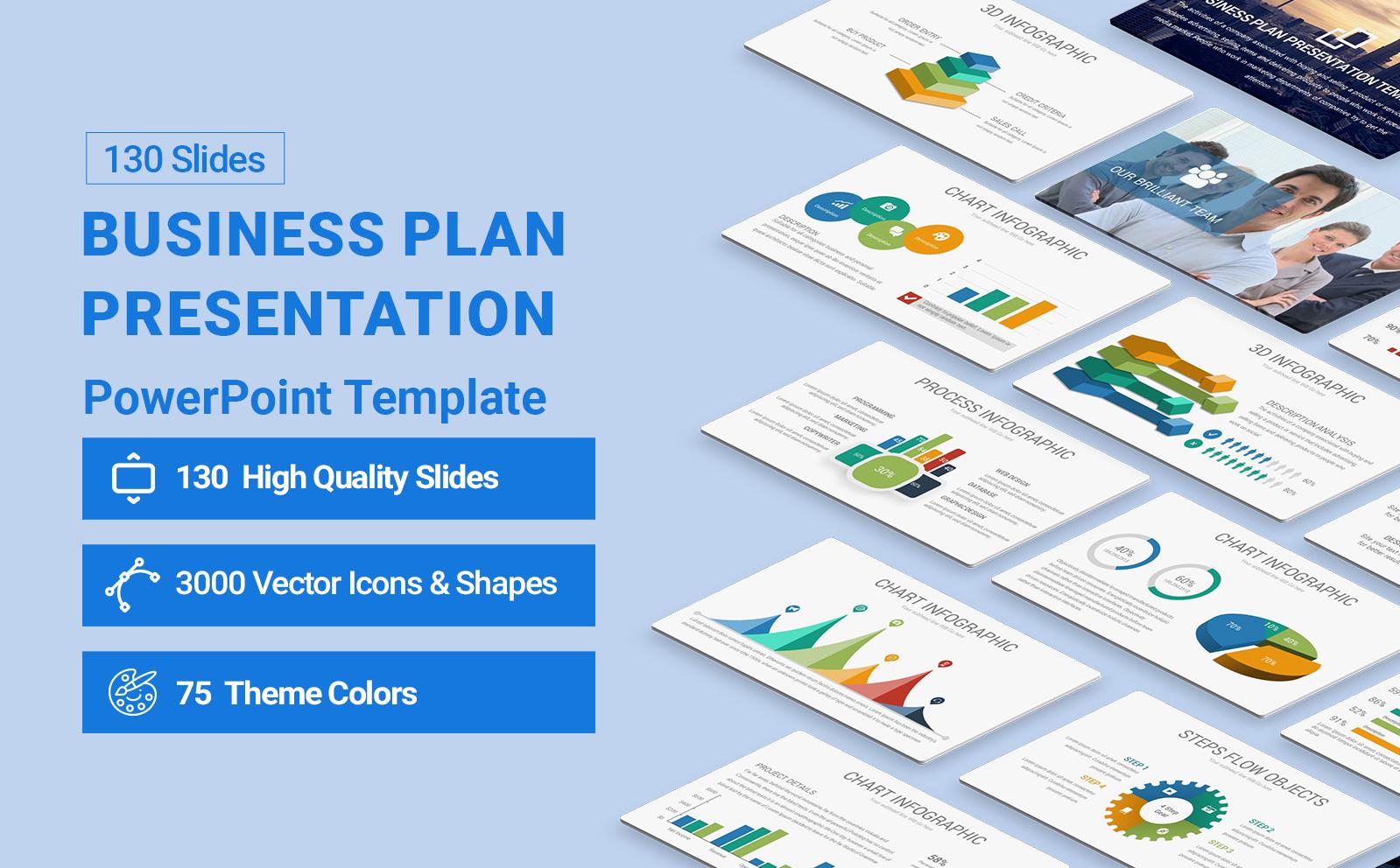 Business Plan Presentation  Diagrams PowerPoint Template