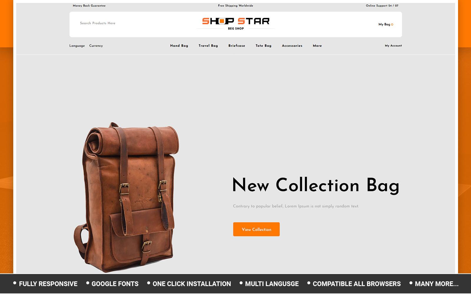 Shopstar - Bag Store OpenCart Template