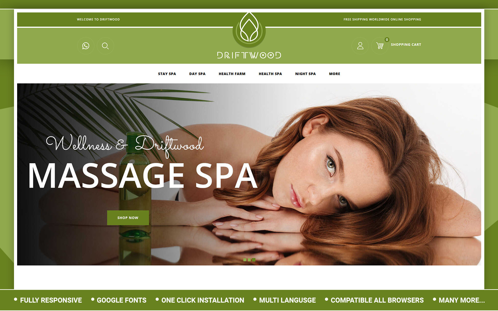Driftwood - Spa Store OpenCart Template