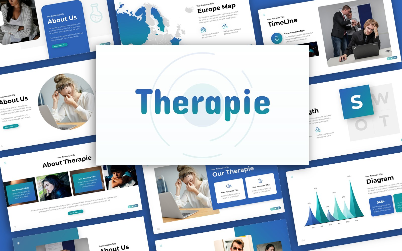 Therapie Mental Health Presentation PowerPoint Template