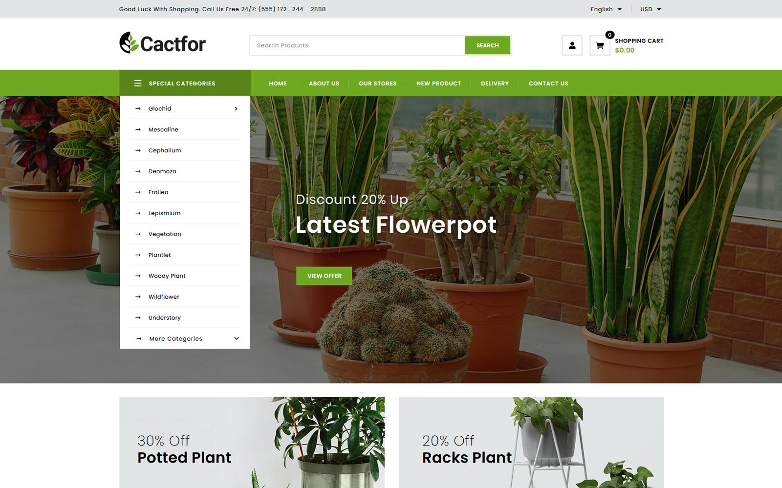 Cactfor - Plants & Gardening Tools Online Store PrestaShop Theme