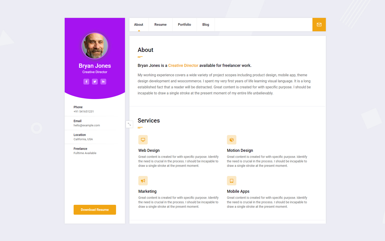 Bryan - CV/Resume/Portfolio/Personal WordPress Theme