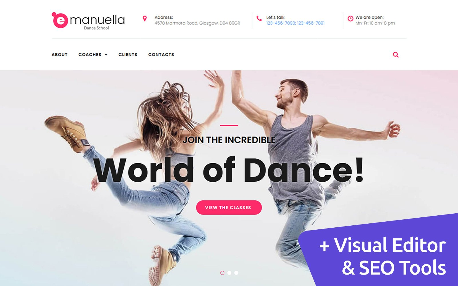 Emanuella - Dance School Moto CMS 3 Template