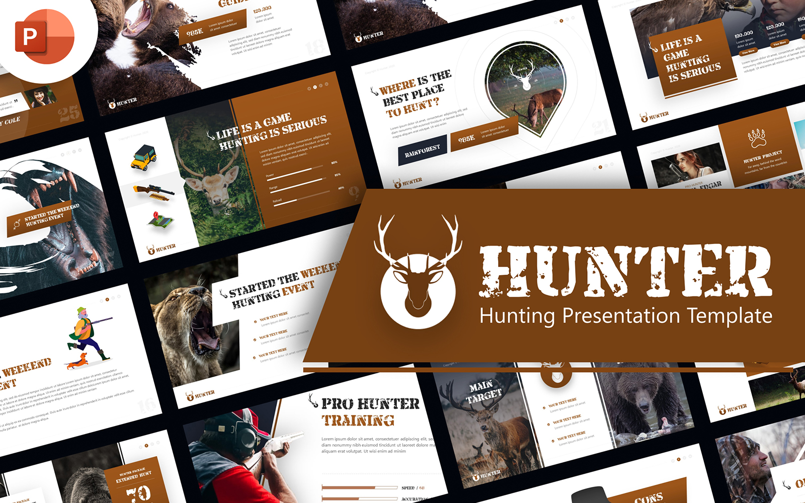 Hunter Hunting  Presentation PowerPoint Template