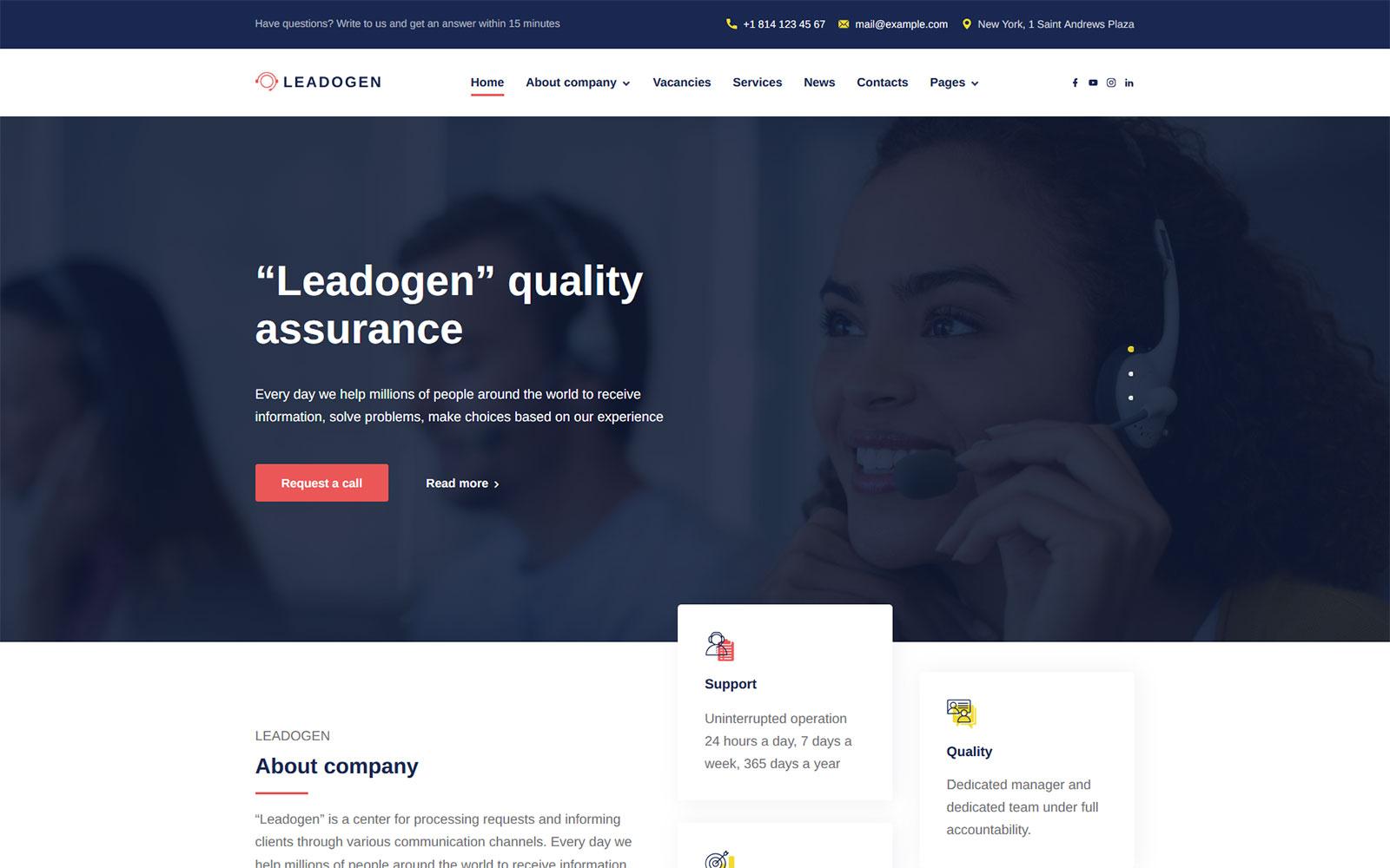 Leadogen - Marketing, SEO and Call Center Lead Generation WordPress Theme