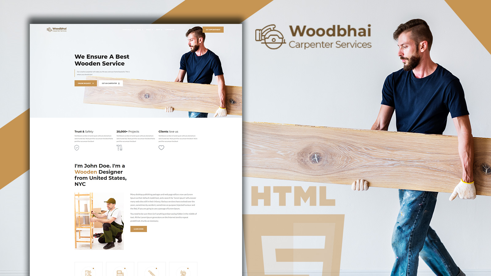 Woodbhai - Carpenter Service And Shop Website Template