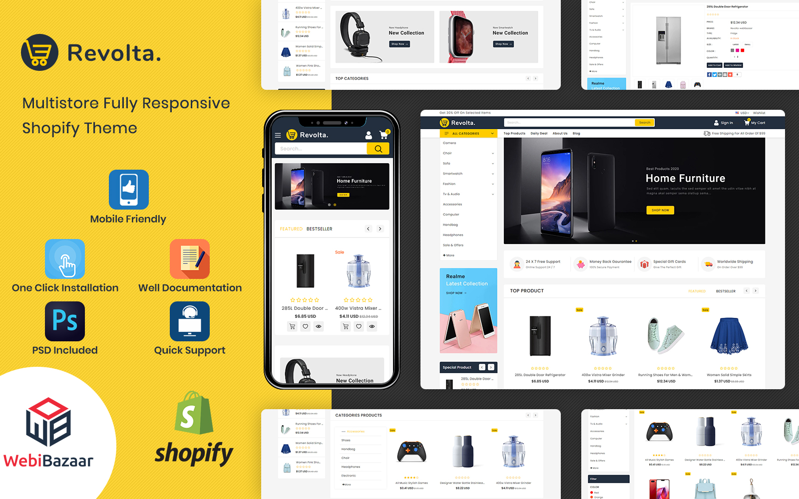 Revolta - Minimal Modern Multistore Shopify Theme