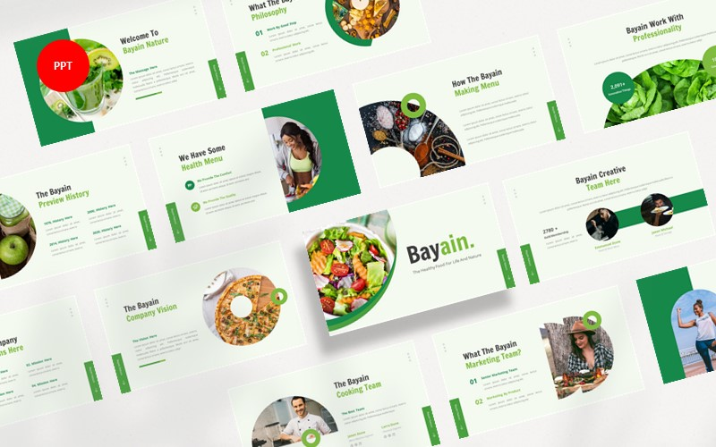 Bayain Healthy Food PowerPoint template
