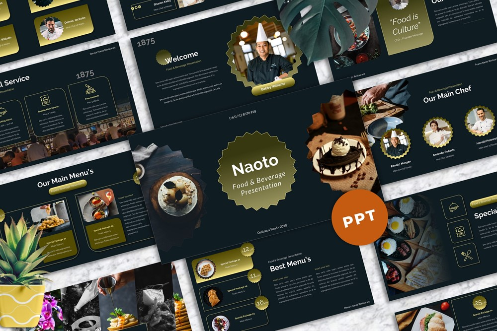Naoto - Food & Beverages PowerPoint Template
