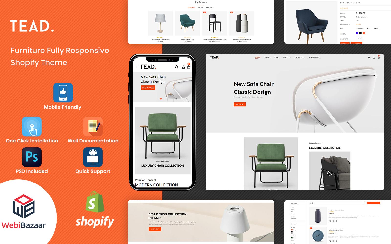 Tead - Minimal Modern Furniture Shopify Theme
