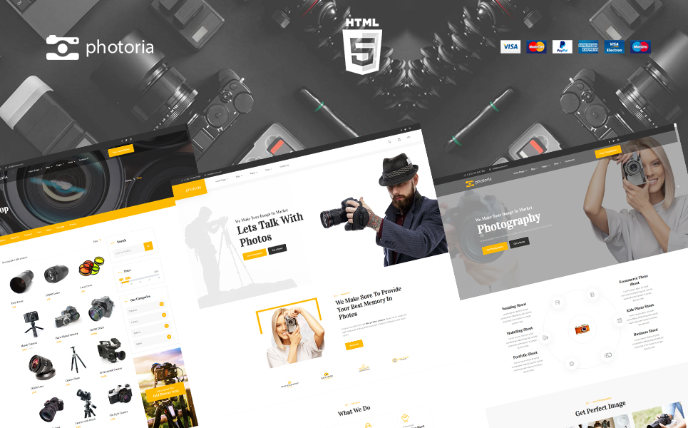 Photoria Photography Showcase and Boutique Website Template