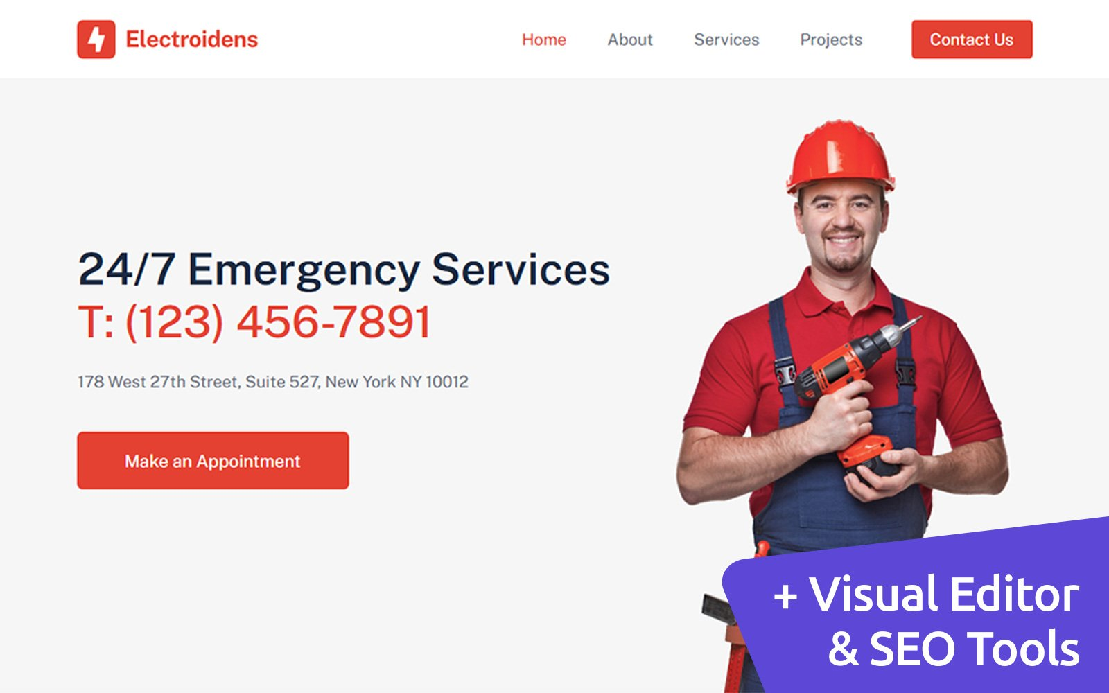 Electroidens - Electrician Moto CMS 3 Template
