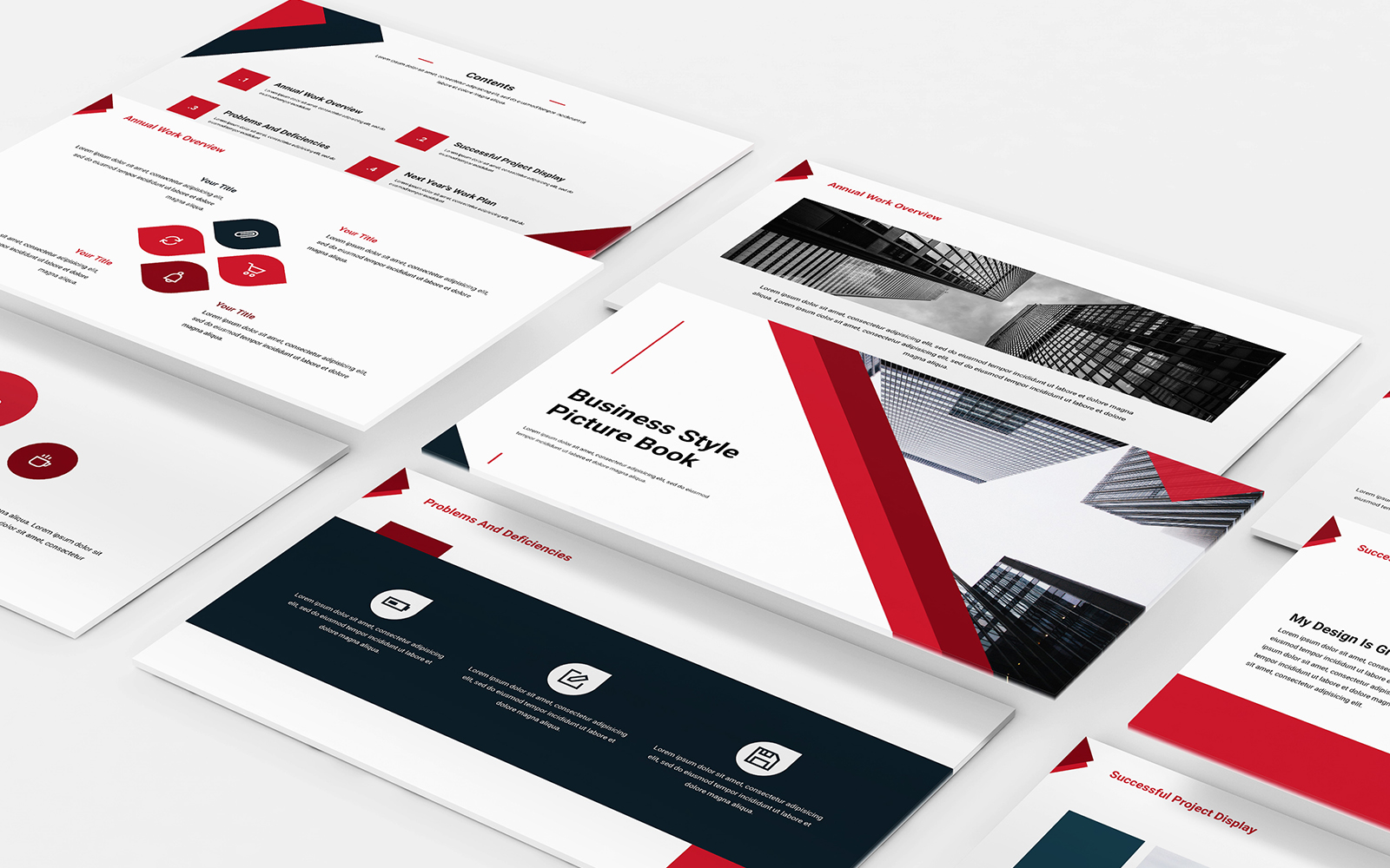 Business style picture album PowerPoint template