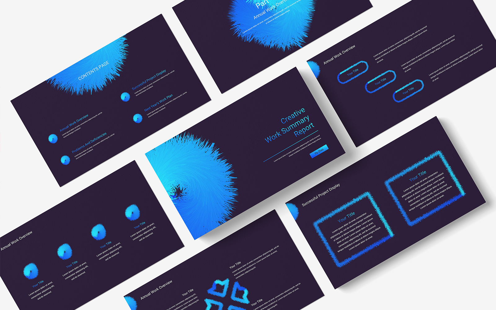 Creative Work Summary Report PowerPoint template