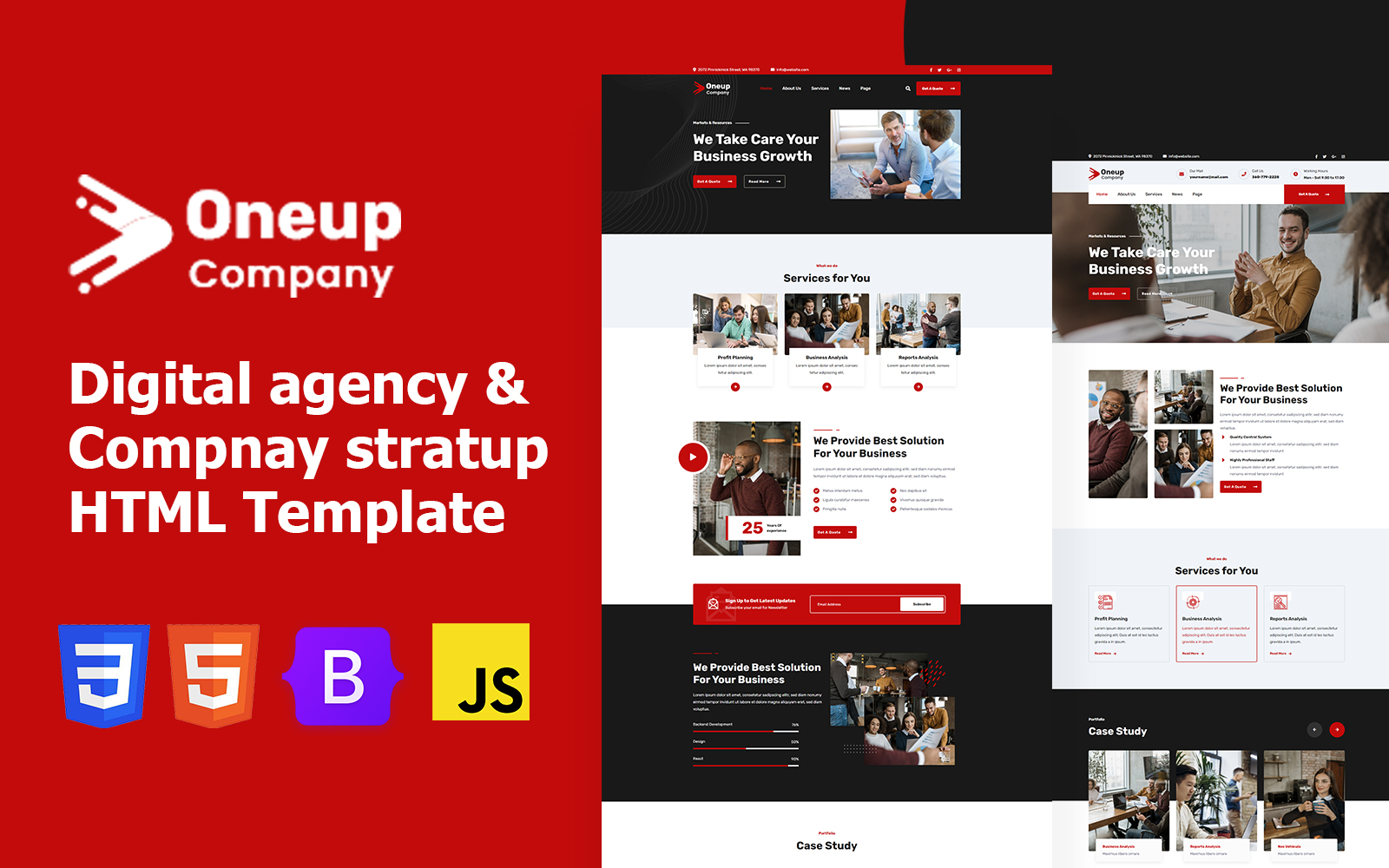 Oneup Company - Digital Agency Html Website Template