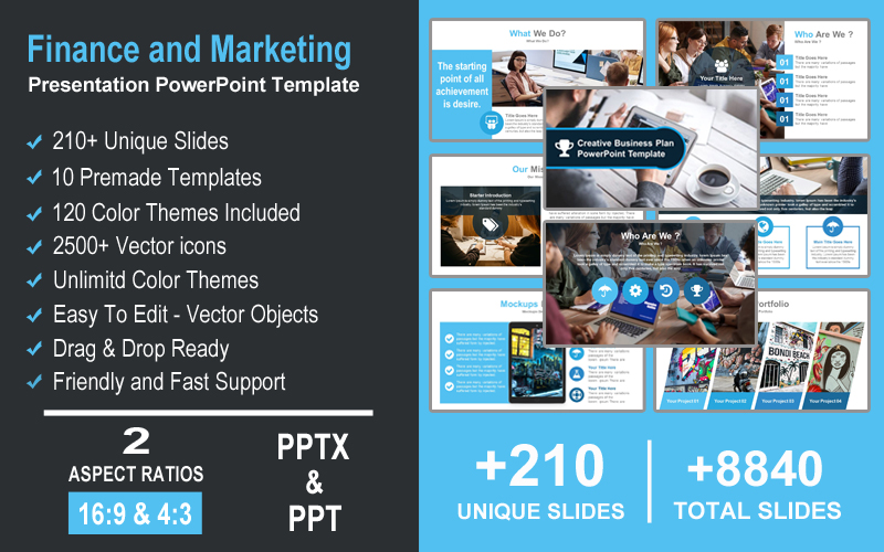 Finance and Marketing Presentation PowerPoint Template