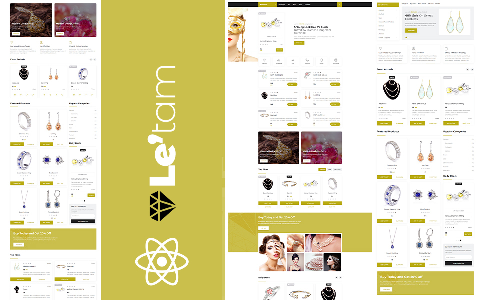 Letam Gold and Jewelry shop React JS Website Template