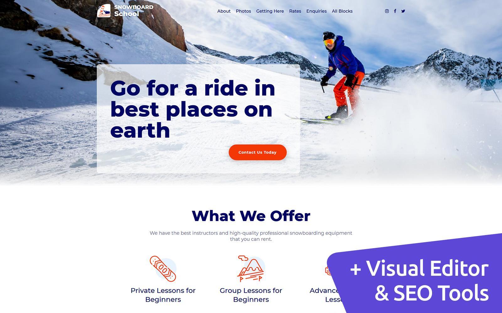 Snowboarding MotoCMS Landing Page Template