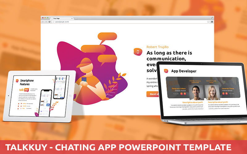 Talkkuy - Chatting App Powerpoint Template