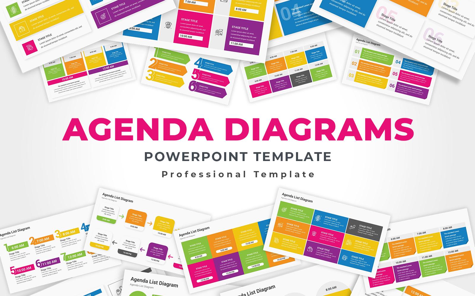 Agenda diagrams PowerPoint template