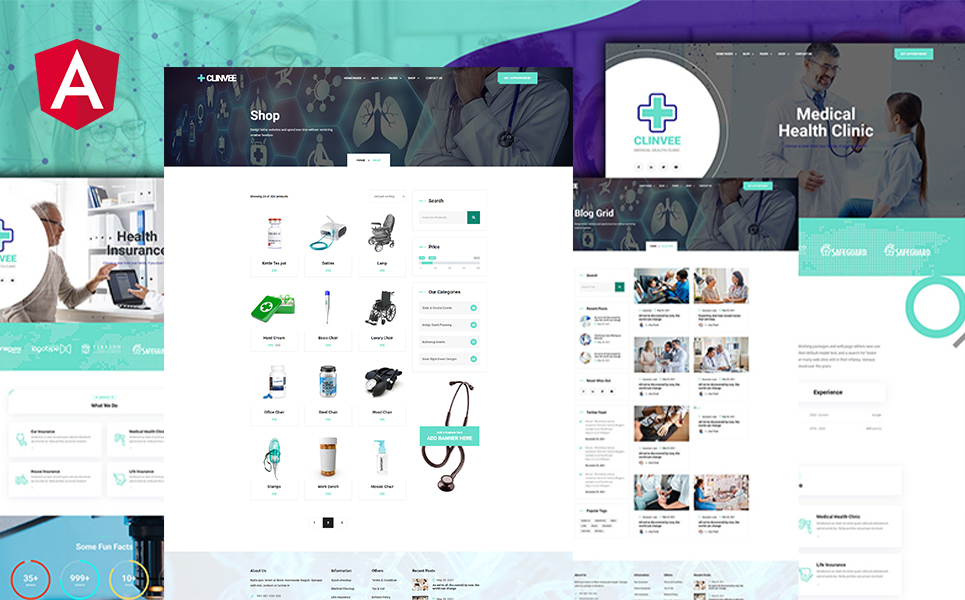 Clinvee Angular Medical Doctor Responsive Clinic Website template