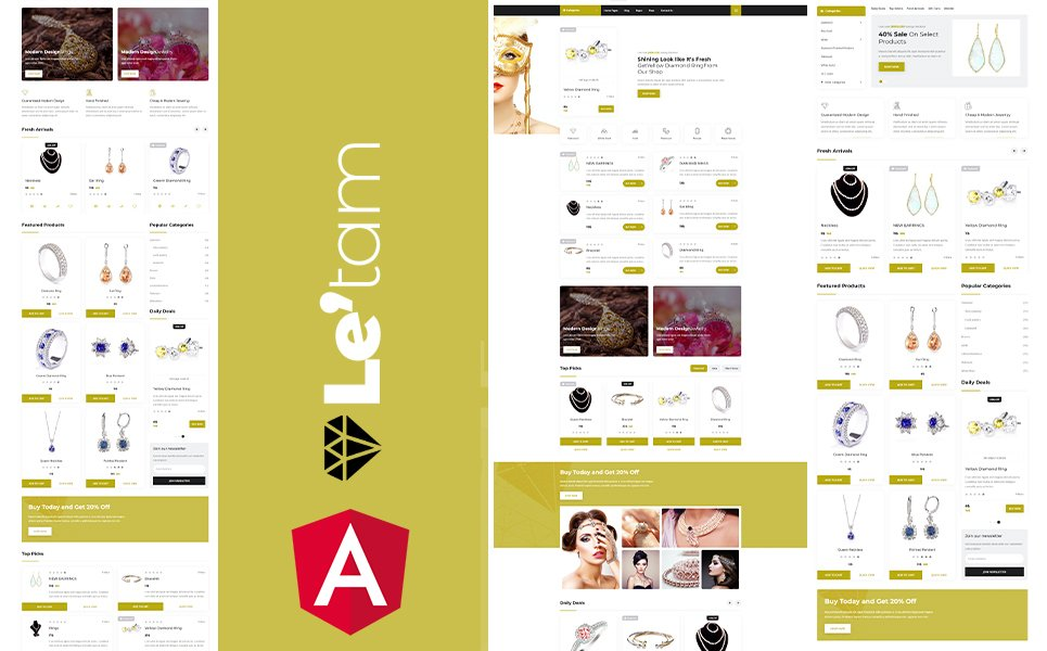 Letam Gold and Jewelry shop Angular JS Website Template