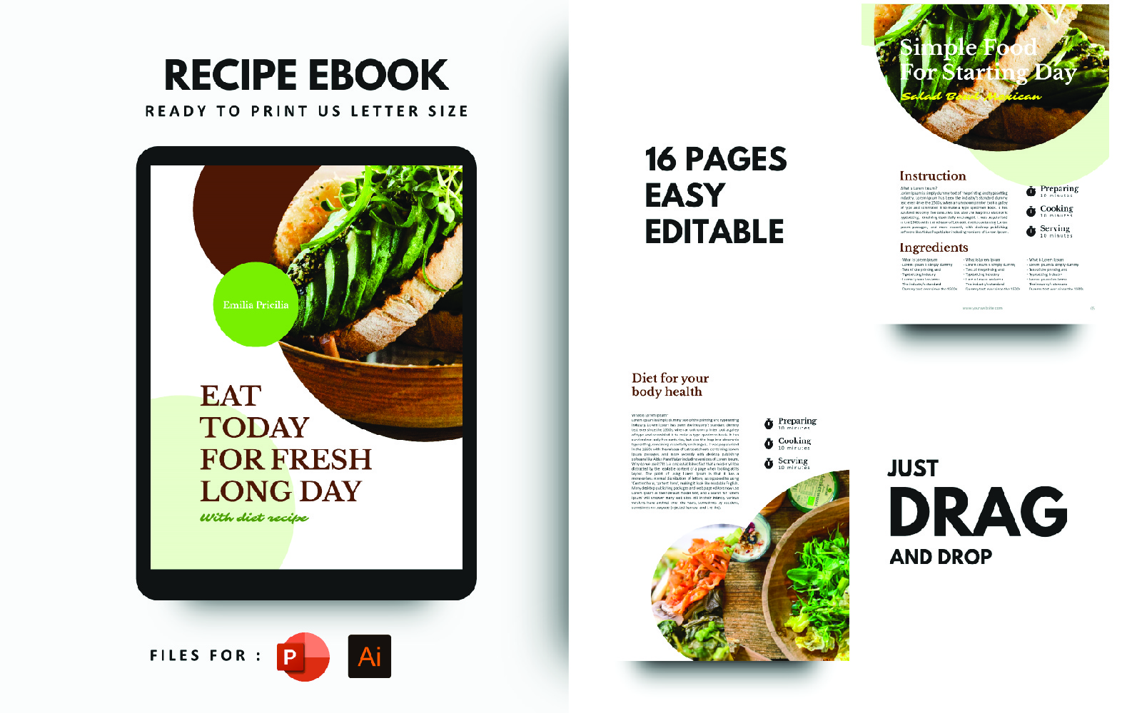 Diet Today Recipes eBook PowerPoint Presentation Template