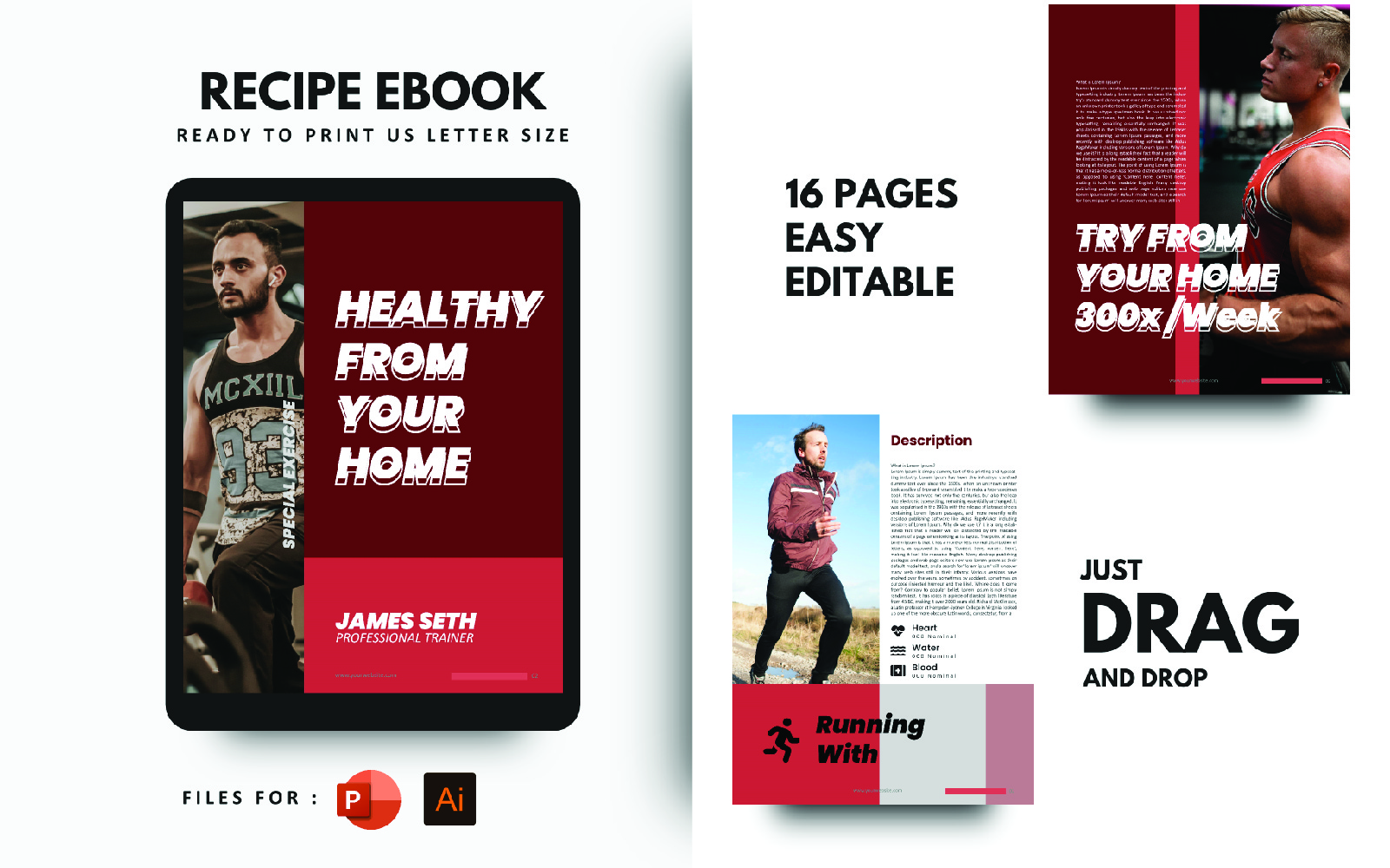 Fitness at Your Home eBook Powerpoint Template