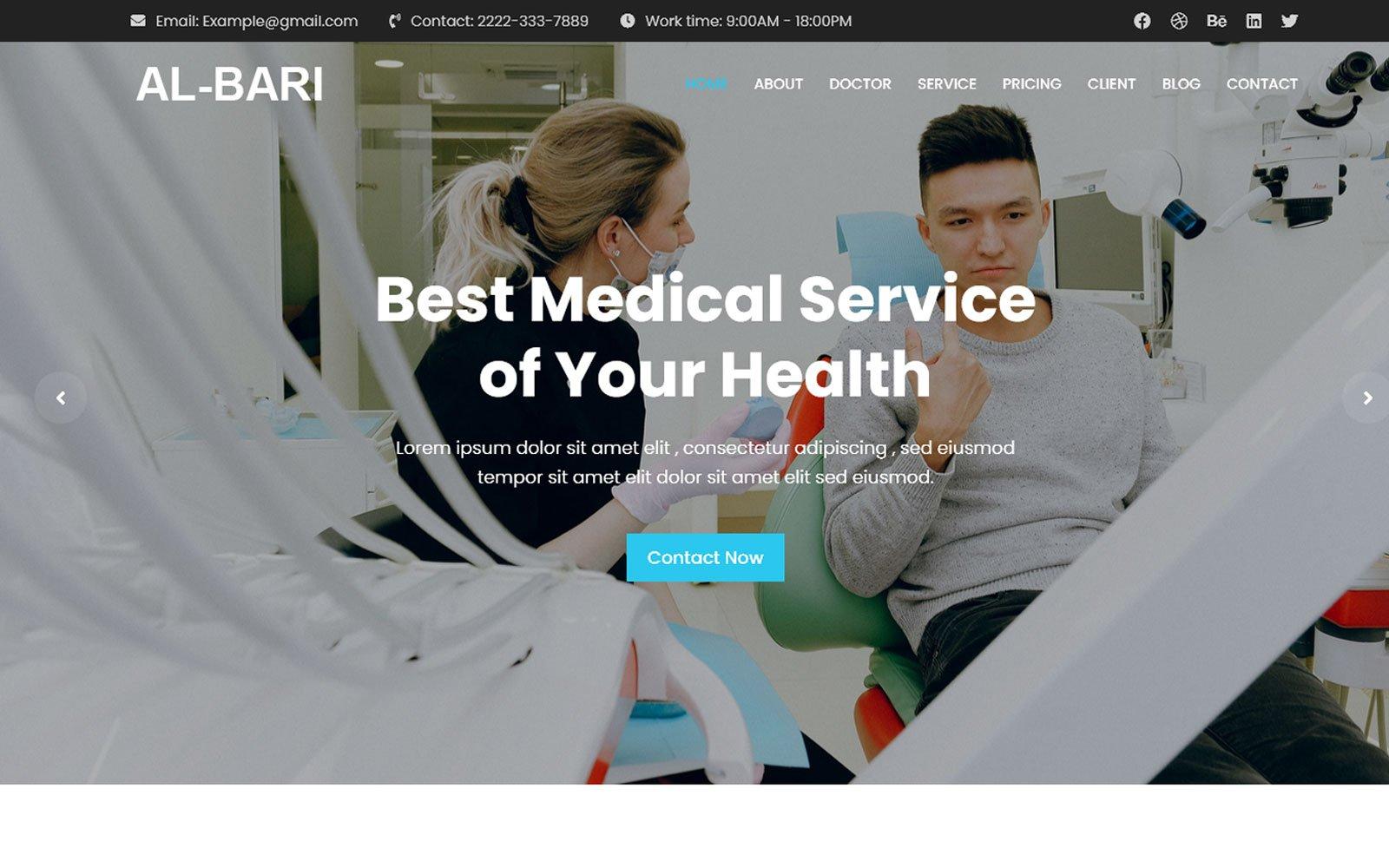 Al-Bari - Medical Service Landing Page template