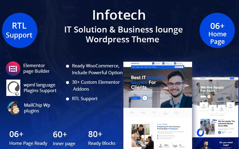 Infotech - IT Solution & Business lounge WordPress Theme