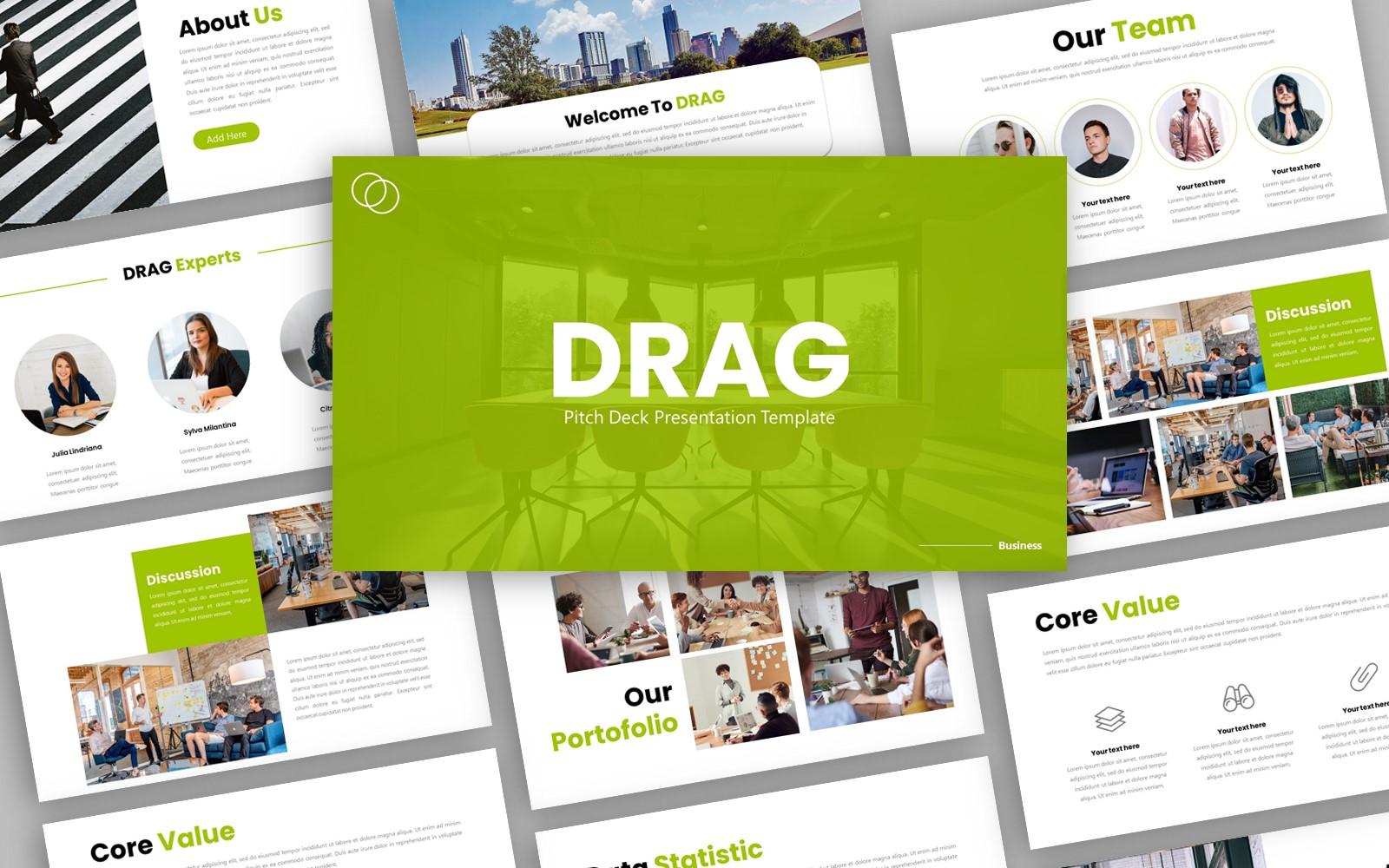 Drag - Creative Business Presentation PowerPoint template