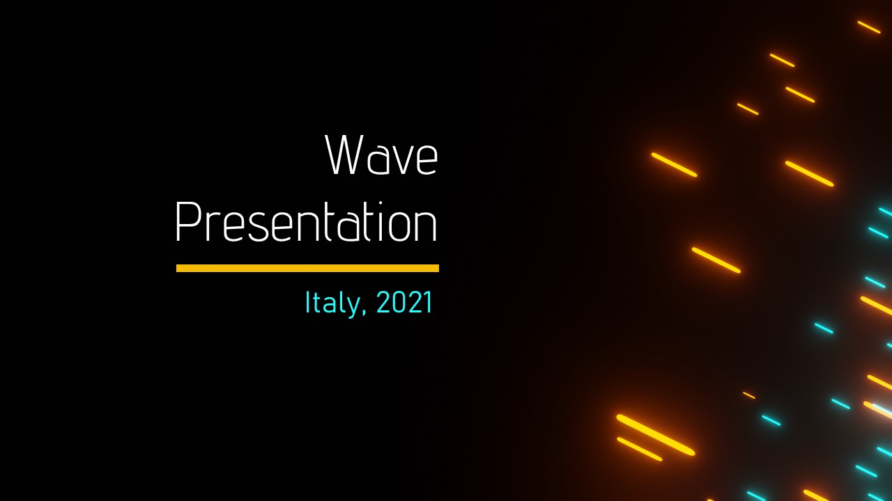 Flying Neon Lights PowerPoint template