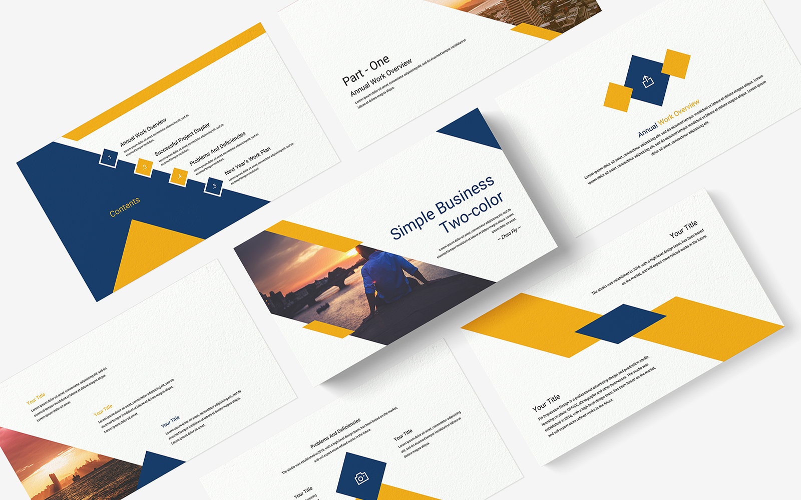 Simple Business Two-Color PowerPoint template