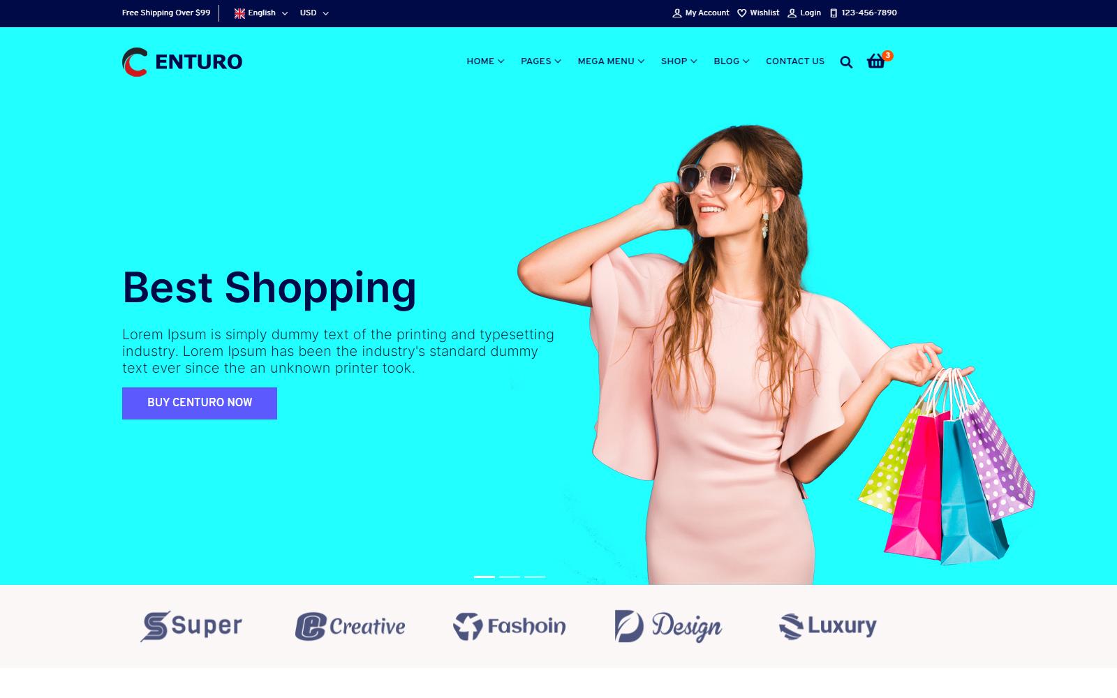 Centuro - Multipurpose eCommerce Bootstrap 4 HTML Website template