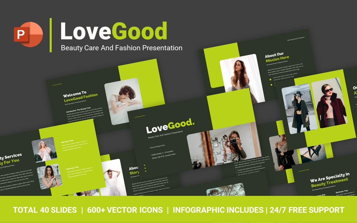 LoveGood Beauty Care And Fashion PowerPoint Template